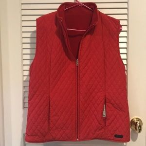 Fila reversible quilted and fleece red vest.